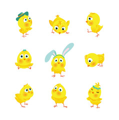Set of funny Easter chickens