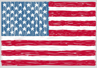 Hand Drawn United States of America Flag