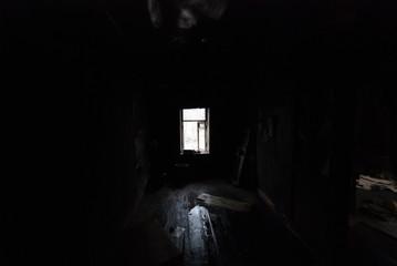 in a black black room