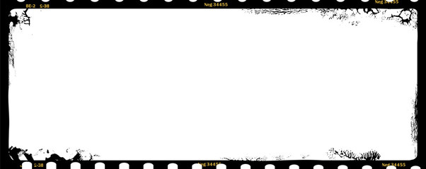 Wall Mural - grungy medium format film negative panoramic photo frame, copy space