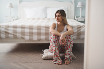 Single woman sad and depressed after break up