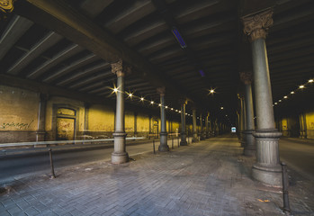 city tunnel night lights - Milan Italy