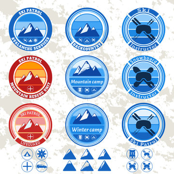retro vintage set of badges and labels on the theme of mountains, ski patrol