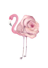 Watercolor exotic flamingo. Summer decoration print for wrapping, wallpaper, fabric, card