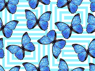 Seamless exotic pattern with blue tropical butterflies. Endless texture vector background. Perfect for wallpapers, web page, surface textures, textile