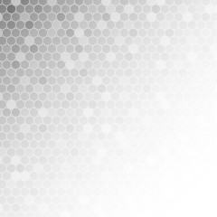 White circle mosaic on light grey background for abstract concept