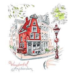 Vector color hand drawing, city view of Amsterdam typical house with stork and lantern, Holland, Netherlands.