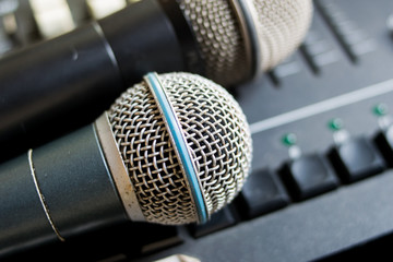 close up microphone on the sound mixer