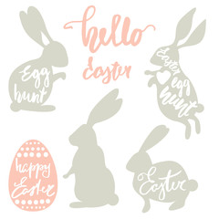 Cute Easter rabbits set with lettering inside shapes. Clipart with rabbits silhouette isolated on white. Egg hunt text. Vector Illustration