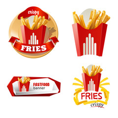 Set beautiful cartoon icon and badges of fast food
