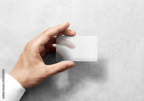 Hand Hold Blank Translucent Card Mockup With Rounded Corners Plain Clear Call Mock