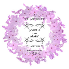 Greeting card with lilac, can be used as invitation card for wedding, birthday and other holiday and summer, spring background.