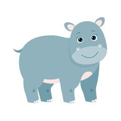 Funny blue hippopotamus