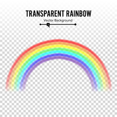 Rainbow Vector. Classic Round Shape. Realistic Rainbow Isolated On Transparent Background.