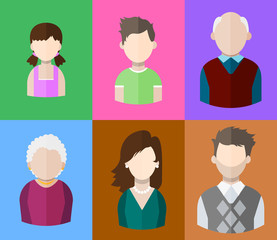 Flat people icons (mother, father and their son and daughter, grandpa and grandma. Family. Segment of population. Vector isolated illustration