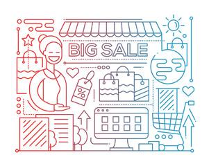Big Sale - line design composition - color gradient