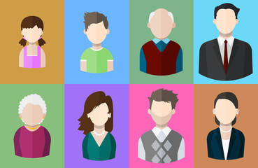 Flat people icons (mother, father and their son and daughter, grandpa and grandma, business man and business woman). Various segments of population. Vector isolated illustration