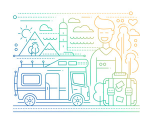 Caravan Tourism - line flat design illustration