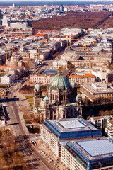 Aerial bird eye view of the city of Berlin Germany. Berlin skyline