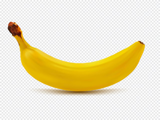 Banana realistic image with transparent shadow vector illustration isolated on plaid white background