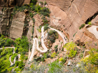 Looking down on acending serpentines of Angels Landing hiking trail, Zion National Park, Utah
