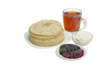 pancakes with sour cream and jam