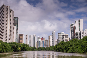 The skyline of Recife in Pernambuco, Brazil seen from river
