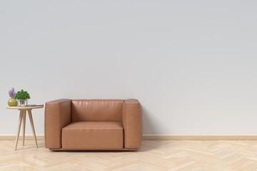 Neutral interior with Armchair Leather on empty white wall background. 3D rendering
