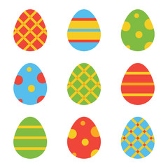 Colorful flat design easter eggs set, collection isolated on white background.