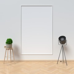 Table and white picture frame,3D rendering