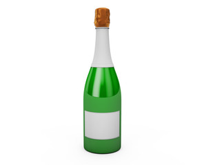 Champagne or sparkling white wine bottle with gold foil isolated on white background. 3D render