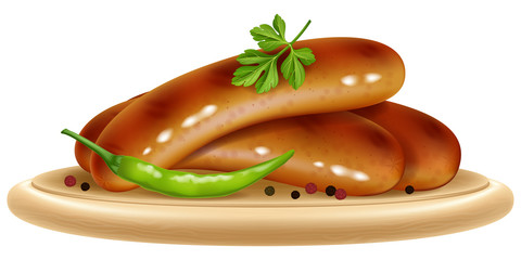 Grilled sausages with chili pepper and parsley on a wooden plate. Vector illustration.