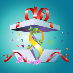 An open gift box for the holiday March 8