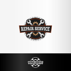 Isolated repair service logo, wrenches and gears elements, mechanical tools vector illustration.