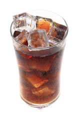cola with ice cubes texture