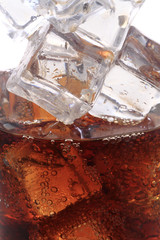 cola drink with ice cubes texture