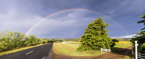 Rainbow over street next to vineyard in Tasmania, Australia
