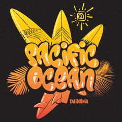 summer tropical surf print pacific ocean vector illustration