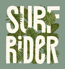 surf rider vuntage tropical leaves print