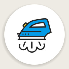 Vector round icon of linear flat iron