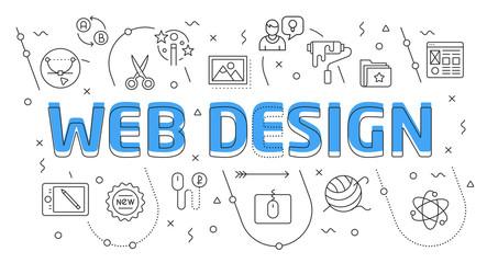 Linear flat illustration for presentations white background web design