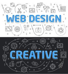 Set linear flat illustration for presentations dark and white background web design creative
