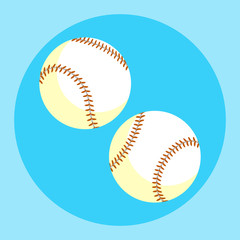 Baseball ball icon. Colorful baseball ball on a blue background. Sports Equipment. Vector Illustration.