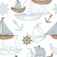 Boat graphic blue brown color sketch seamless pattern illustration vector