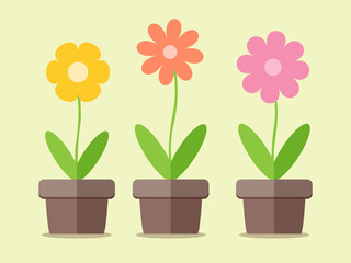 Flowers in pot , simple flat design