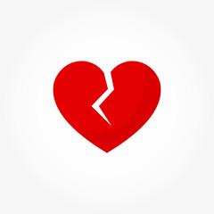 Broken red heart icon