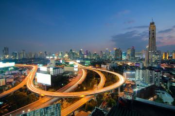 Bangkok Expressway and Highway top view in Bangkok, Thailand