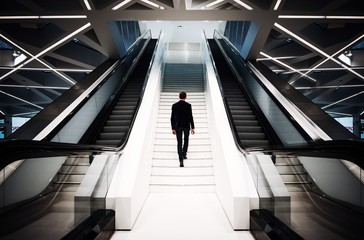 Rear view of man climbing on escalator