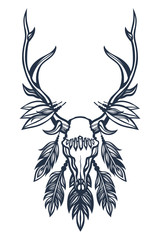 Skull of the deer with antlers, feathers and crystals. Boho, ethnic, tribal. Tattoo art. Hand drawn. Vector illustration.
