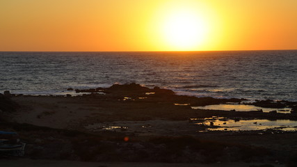 Picturesque sunset on the coast of the Mediterranean sea, Cyprus